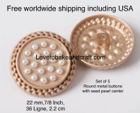 Round pearl buttons, Seed pearl buttons, Gold pearl metal buttons, Free worldwide shipping